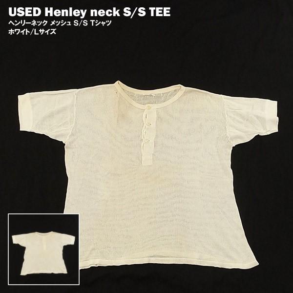 USED ヘンリーネック S/S Tシャツ ホワイト/Lサイ...