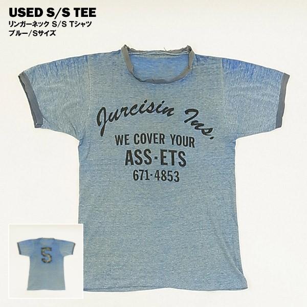 USED リンガーネック しもふり S/S Tシャツ ブル...