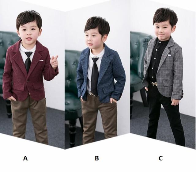 カジュアル 子供スーツ 全3色 男の子 キッズ 2...