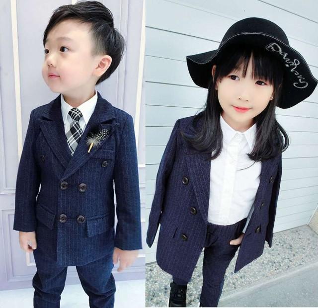 韓国子供服 長袖 男女兼用フォーマル スーツセッ...