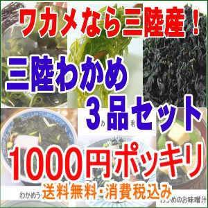 三陸産わかめ3品セット1000円ポッキリ 送料無料 ...