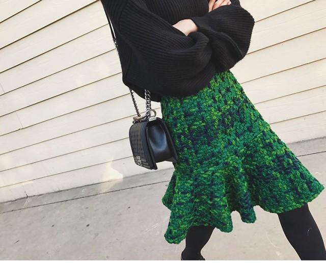 カラフル☆ ひざ丈 ペプラム スカート