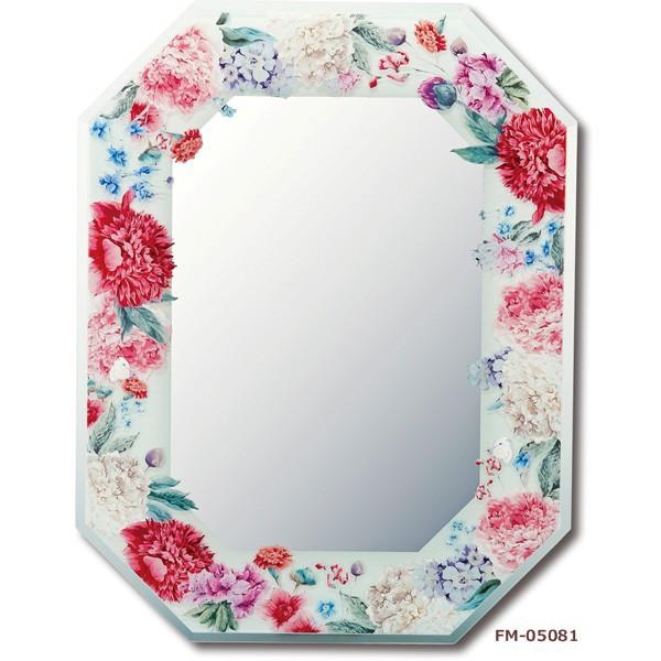 鏡 Floral Glass デザイン 八角ミラー「グリーン...