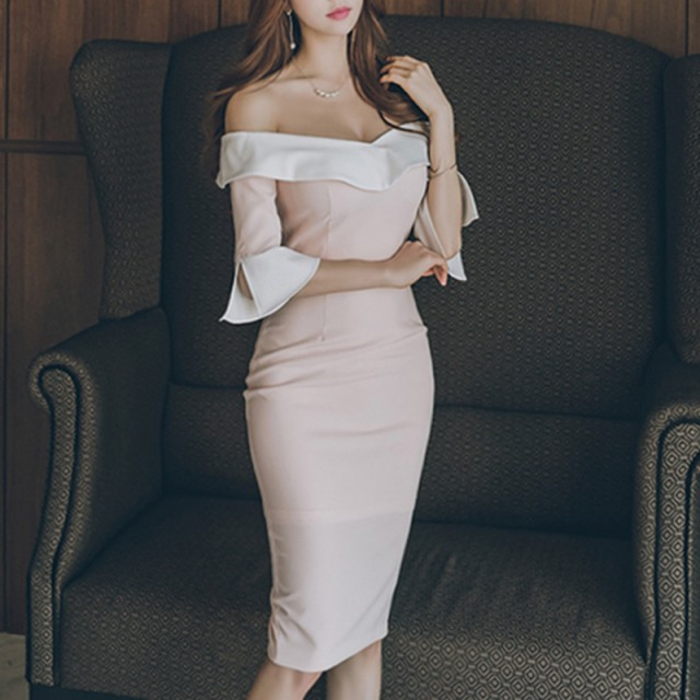 可愛いピンクのオフショルダーワンピース☆5560