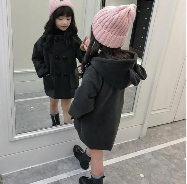 韓国子ども服 女の子アウター コート 長袖 子供ト...