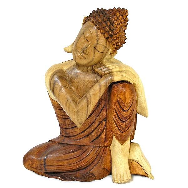 木彫りの仏陀『まどろむ仏陀』A 坐像 ナチュラル[...