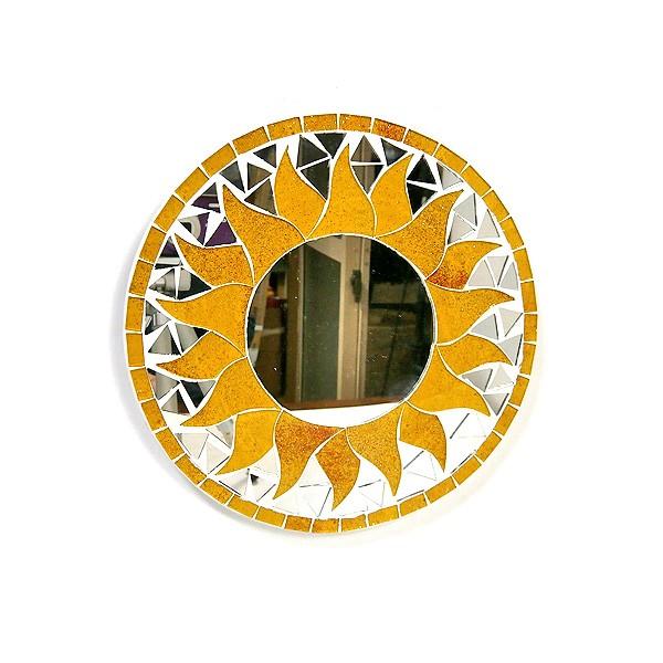 壁掛け モザイク ミラー 丸い鏡 直径20cm 丸型 オ...