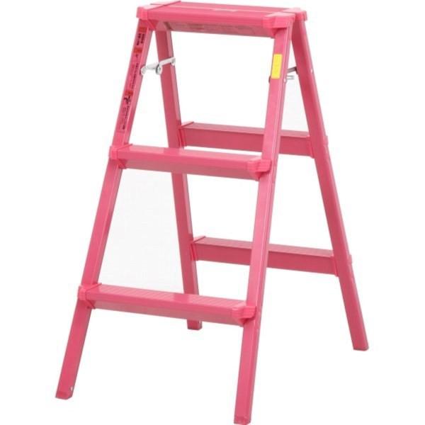 アルミ踏み台 3段 ピンク DAT-AN3(3個セット)