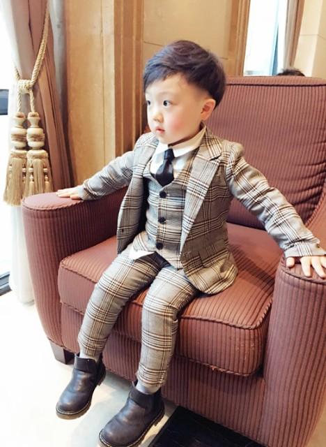 子供スーツ キッズ服 男の子衣装 チェック柄 ズボ...