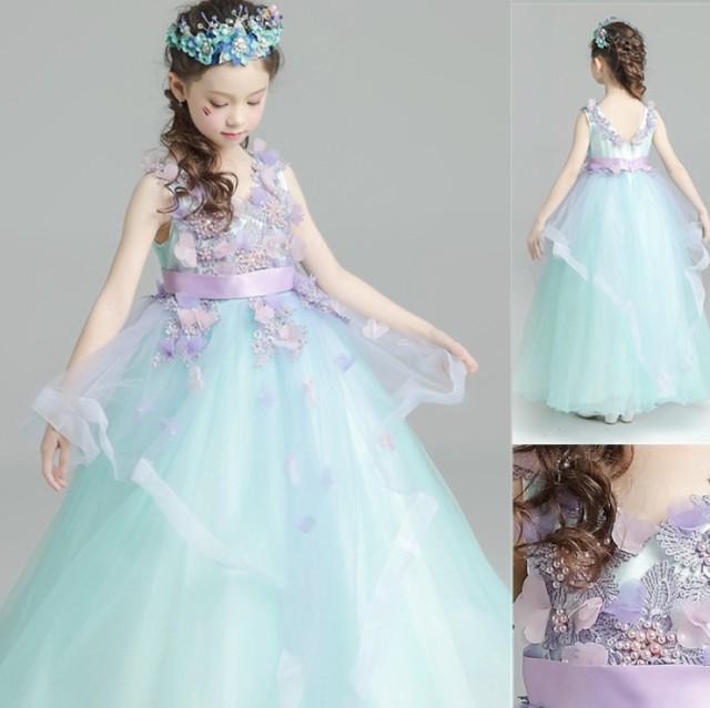 ロングドレス 子供ドレス ワンピース キッズ服 女...