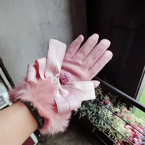 手袋 レディース スマホ対応  ファーが付き かわ...