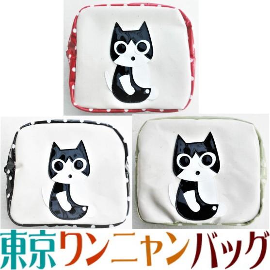 【送料無料】ポーチ 小物入れ 大き目 猫柄 ハチワ...