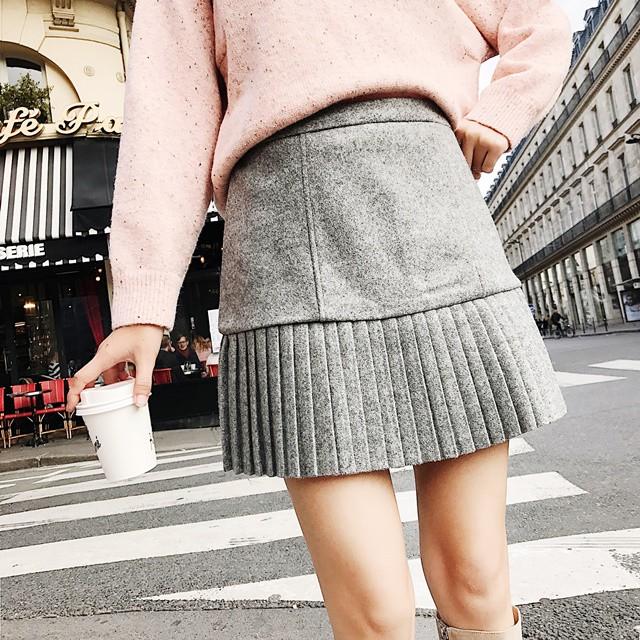 裾プリーツ ミニスカート