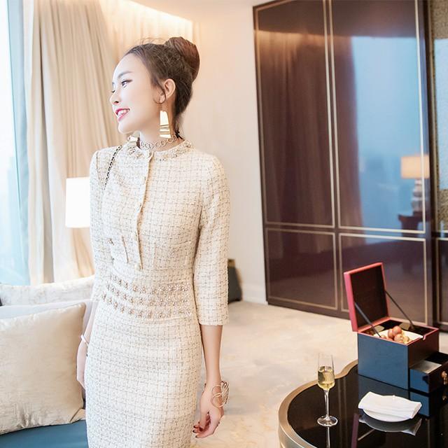ビジュー付き ツイード ワンピース ドレス