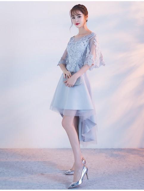 パーティドレス ブルー 水色 刺繍レース フレアス...