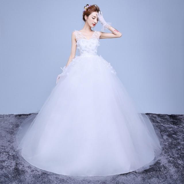 383c3e64bd6d0 スタイリッシュ Vネック ウエディングドレス 韓国風 マタニティウエディングドレス トレーンドレス2018新品 花嫁 結婚