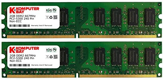 Komputerbay 4GB 2X 2GB DDR2 667MHz PC2-5300 PC...
