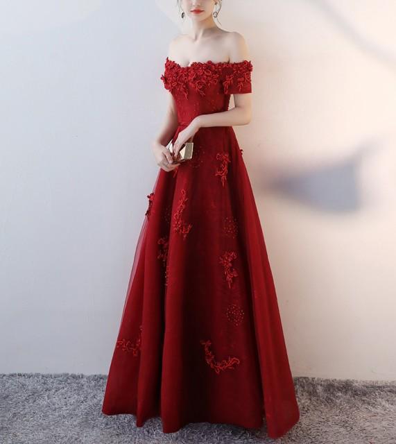 ロングドレス オフショルダ— パーティー ドレス ...