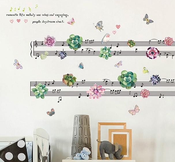ウォールステッカー 楽譜と花 壁紙シール 音符 蝶...