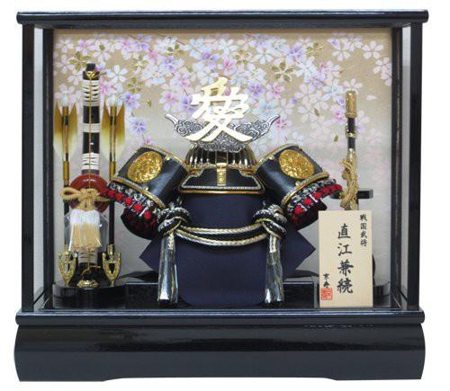 写真立てオルゴール付き京寿 五月人形 兜飾り  間口43×奥行30×高さ38cm 12号直江兜ケース飾り YN30348GKC