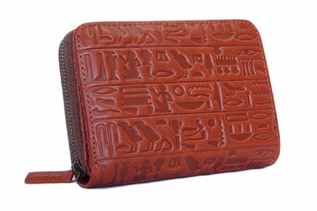 個性的な二つ折り財布  古代エジプト文字ラウン...