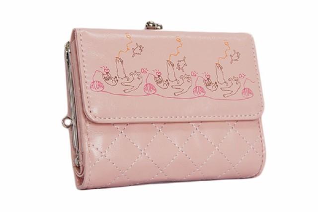 癒しの春財布 二つ折りがま口財布