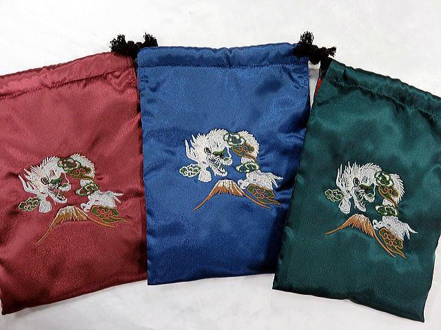 日本製刺繍スカ柄スマホケース 龍刺繍 巾着 ポ...