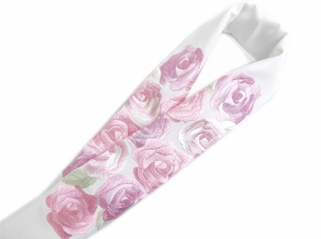 刺繍半衿半襟白色地薄紫ピンク薔薇 振袖成人式&...