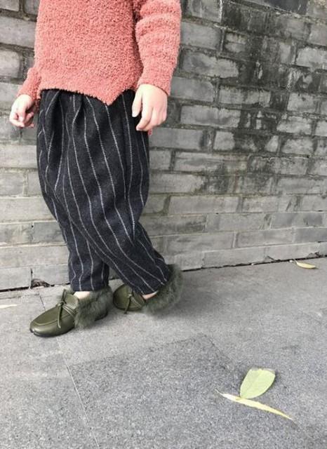 ストライプ 裏起毛 子供パンツ 男女OK サルエル/e...