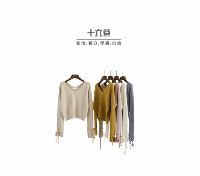 トップス袖リボンニットセーター