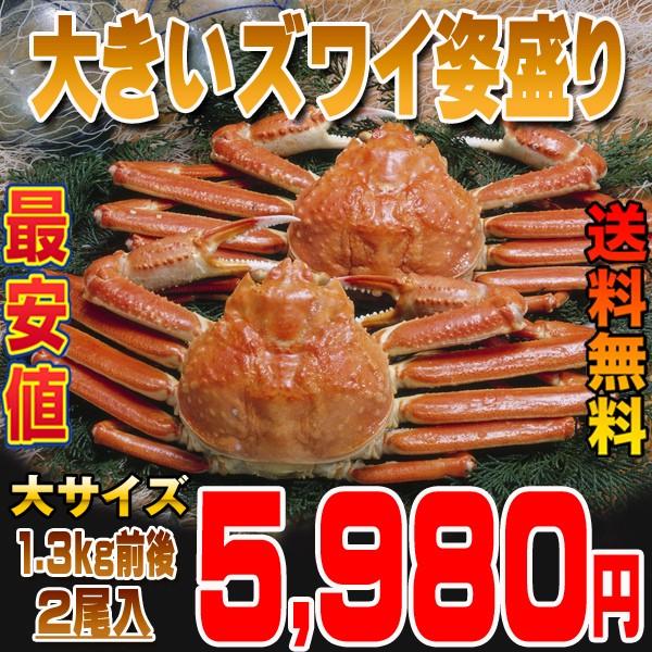 【送料無料】大きいズワイカニ姿盛り2尾入1.3kg...