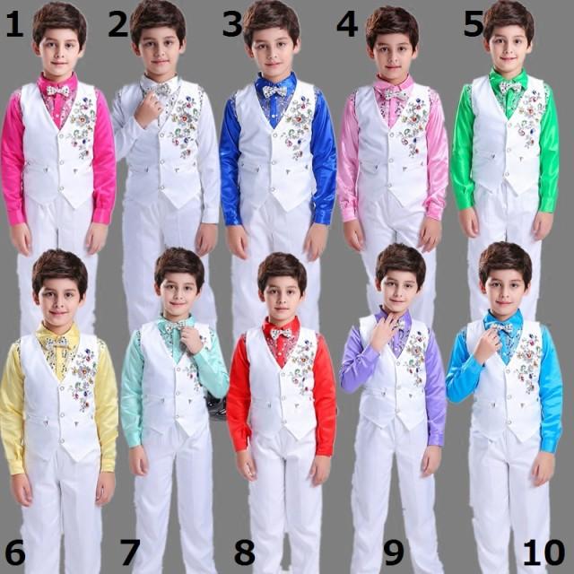 男の子スーツ上下3点セット/シャツ+ベスト+パンツ...