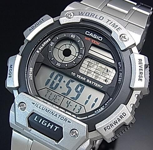 d9554ee405 CASIO【カシオ/スタンダード】デジタル 世界地図表示ワールドタイム メンズ腕時計 メタルベルト