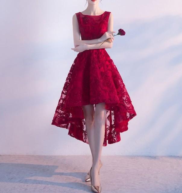 ドレス フィッシュテール ノースリーブ 赤 結婚式...