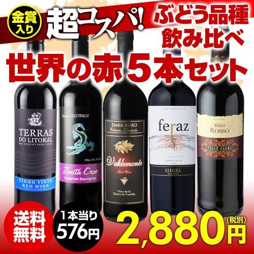 ワインセット 赤5本 世界のぶどう品種飲み比べ 超コスパ赤ワインセット 6弾 【送料無料】[ワインセット][長S]