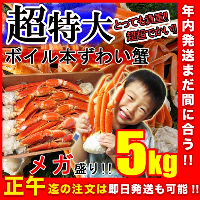 【メガ盛り】ずわい蟹5kg 超特大 身入り抜群♪3...