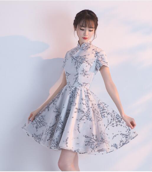 立ち襟 ウェディングドレス プリンセス 二次会 結婚式披露宴花嫁 ミニドレス韓国風 大きいサイズ