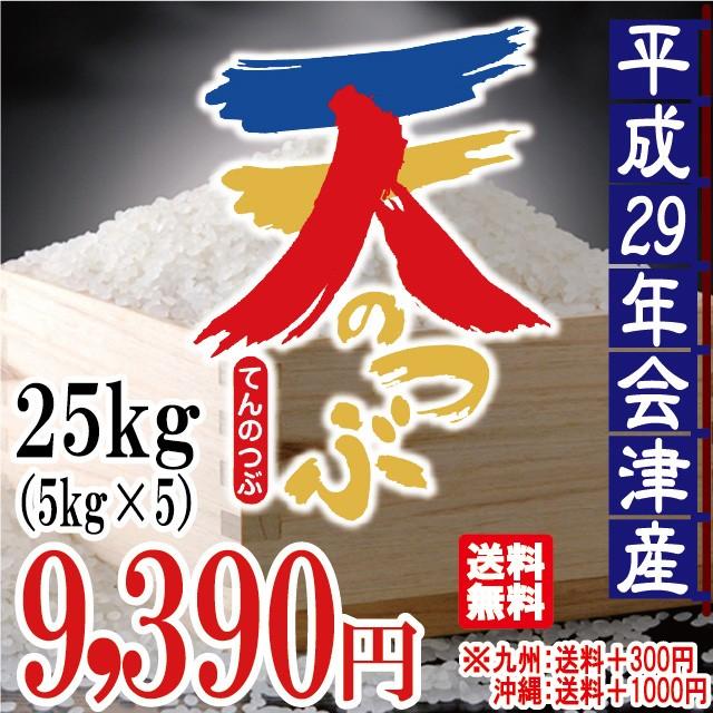 天のつぶ 白米 25kg(5kg×5)会津産 29年産 お米...