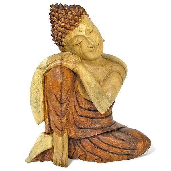 木彫りの仏陀『まどろむ仏陀』C 坐像 ナチュラル[...