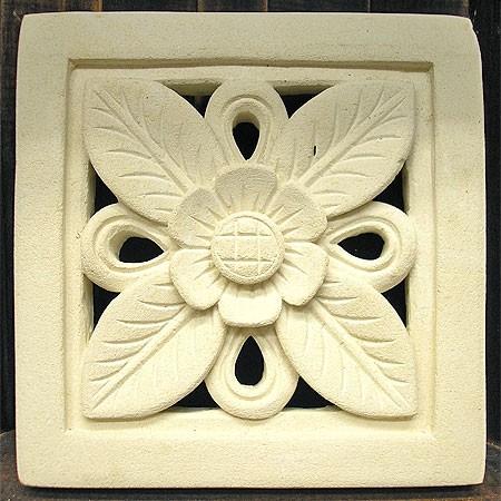 砂岩のレリーフ お花 [20x20x2.5cm] アジアン雑...