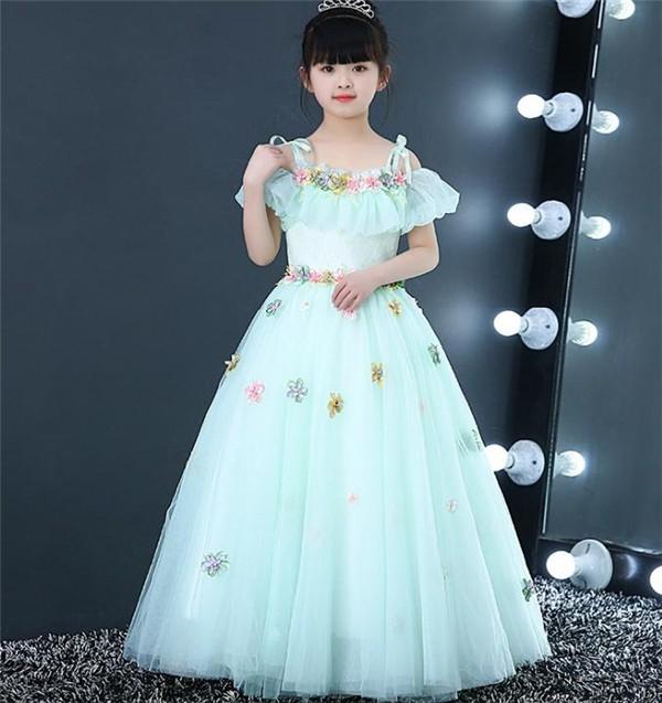 グリーン 80-160CM 子供ドレス キッズドレス ...