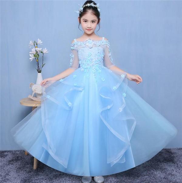 水色  90-160CM 子供ドレス キッズドレス ワン...