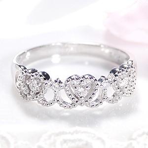pt900 【0.1ctUP】 ミル打ち ハート ダイヤモンド...