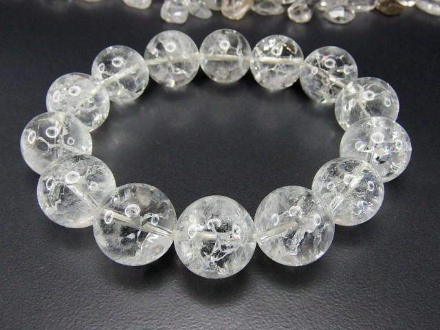 石街AAAホワイトクラック水晶超大約16mm天然石ブ...