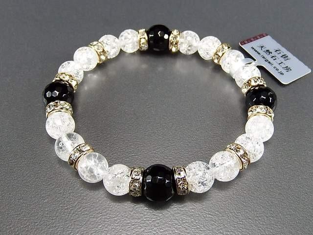 天然石4Aオニキス128面カット&クラック水晶ブレス...