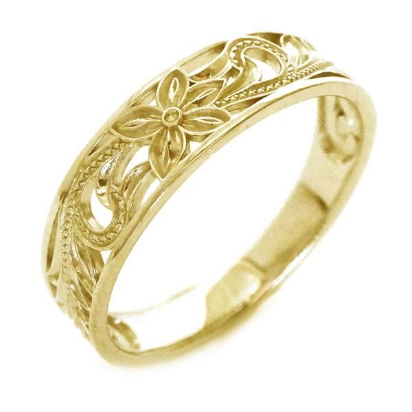 ハワイアンジュエリー 指輪 イエローゴールド K18...