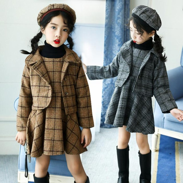 DM女の子 韓国子供服 チェック アウター+ワンピー...