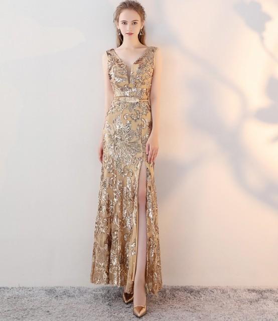 イブニングドレス ノースリーブ ロング丈 フォーマル 結婚式 大きいサイズ ゴールド スパンコール ドレス マーメイドライン パーティー