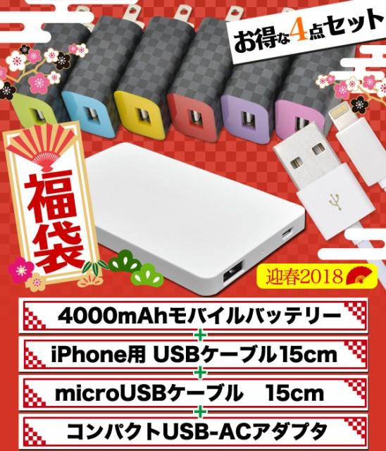 2018年福袋 4点セット【4000mAhモバイルバッテリ...