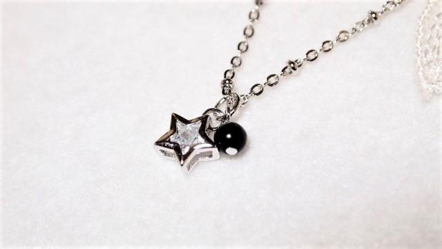 モリオン(黒水晶)のキラキラ星ネックレス お守...